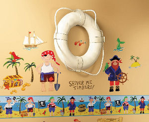 Reusable vinyl pirate nursery wall decals and stickers collection