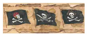 Jolly Roger Skull and Crossbones pirate wallpaper border