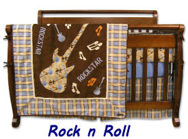 Baby rock and roll guitar theme plaid baby nursery crib bedding set