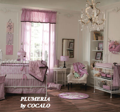 pink purple white plumeria baby bedding nursery crib set elegant