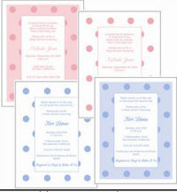 polka dots dot baby shower invitations pink blue green yellow personalized