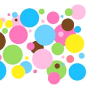 Multi-colored polka dot vinyl wall decals and stickers for a baby nursery room