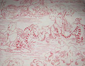winnie the pooh toile red white cream  fabric quilting quilt quilters
