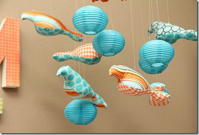 Aqua blue and orange baby bird mobile for a boy's nursery