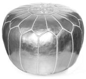 Metallic silver Moroccan style leather pouf for a baby nursery room