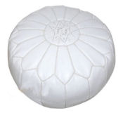 White Moroccan style leather pouf for a baby nursery room