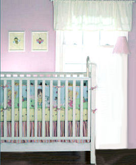 A Precious Moments Nursery Theme decorated in shades of pink and yellow for a baby girl with crib bedding and sheer curtain panels.