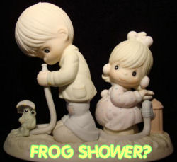 precious moments collectible figurine frog garden hose boy girl