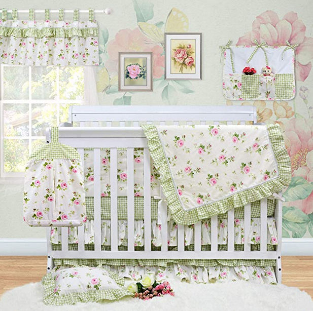 Feminine green baby girl nursery decorated using gingham checked fabric with pink roses
