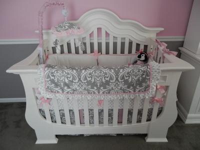 Elegant white pink and gray damask baby crib bedding set for a girl's princess theme nursery room