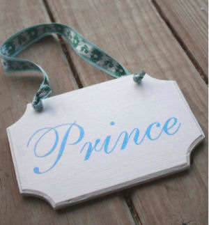 Baby boy prince theme nursery hanging wall or door sign