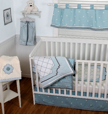 Baby blue and white prince themed nursery design with crown crib bedding set