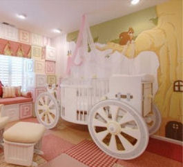 Disney princess carriage crib in a fairytale nursery theme