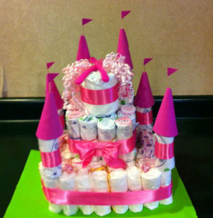 pink princess baby shower diaper cake decorations white girl