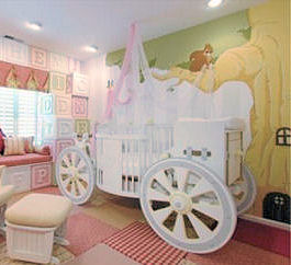 Disney Princess Carriage Baby Crib Bed in a Baby Girl Nursery Room