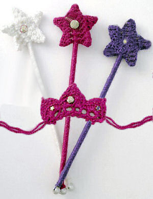 Adjustable crocheted jeweled princess crowns and magic wands with free crochet pattern