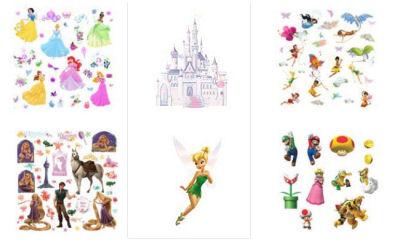 Disney Princess fairy castle baby girl nursery wall decals and stickers with glitter and faux gems