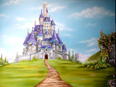 Baby nursery wall mural featuring a fairytale princess castle surrounded with flowers and greenery
