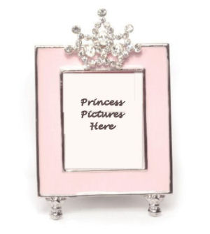 Rhinestones Jeweled Little Princess Tiara Pink Photo Frame