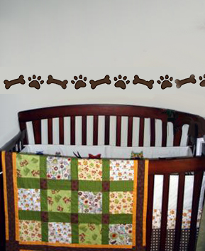 Baby Nursery Wall With A Puppy Paw Print Stencil Design Border Stenciled Stenciling
