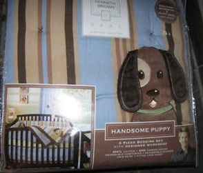 Kenneth Brown Designer Blue and Brown Handsome Puppy Baby Nursery Bedding