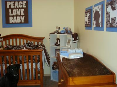Our Puppy Dog theme nursery theme decorated for our baby boy that was inspired by our black Labrador Retriever, Gracie.