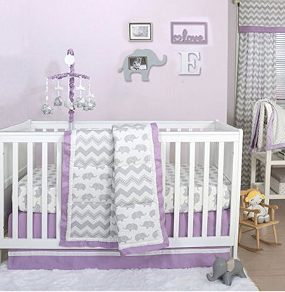 purple elephant theme baby nursery crib bedding theme decorating ideas gender neutral