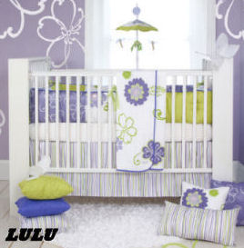 Lavender and purple nursery decorated with touches of lime green for a baby girl