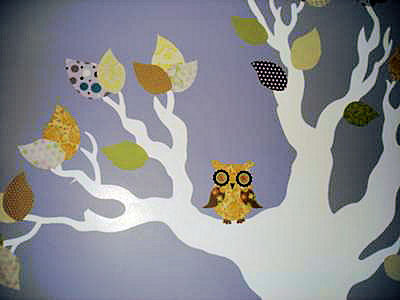 Nursery tree wall mural with owl fabric cut outs on the branches