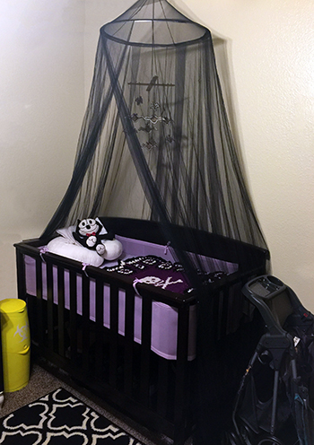 Purple and black punk rock baby crib bedding set for a baby girl