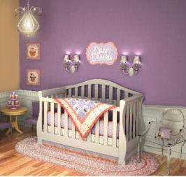 Purple and yellow cupcake baby nursery theme ideas