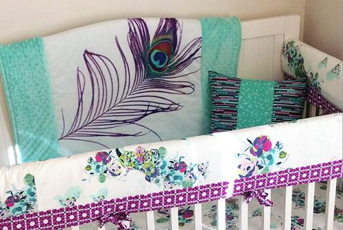 Purple teal aqua mint green peacock baby nursery crib bedding set for a girl