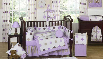 Purple Bedroom Ideas on Purple And Brown Baby Bedding Boys Polka Dots Crib Nursery Set Picture