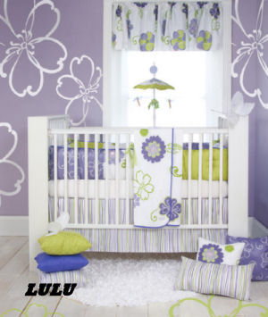 purple lavender lime green white baby nursery crib bedding sets flowers stripes