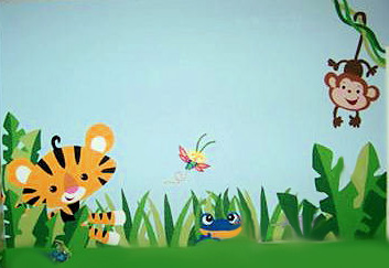 DIY hand painted rainforest nursery wall mural painting with baby jungle animals tigers monkeys frogs butterflies
