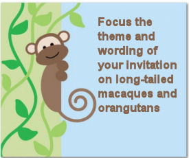 Rainforest theme long tailed macaque monkey baby shower invitation
