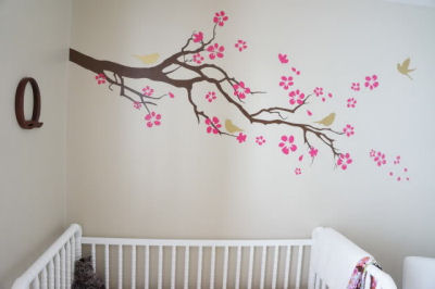 Vinyl baby nursery wall decal with branches gold birds and raspberry pink flowers