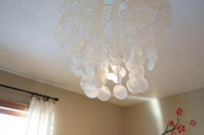 Capiz shell chandelier baby nursery ceiling light fixture