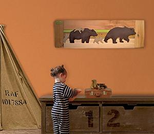 DIY reclaimed wood rustic bear baby nursery wall art decor hanging