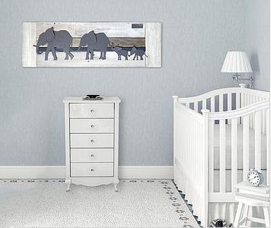 Reclaimed wood baby nursery wall art elephants theme