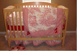 My Baby Girl's Red and White Gingham and Red Toile Nursery Bedding and Decor
