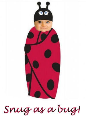 Red and black ladybug theme swaddling blanket and hat set