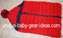 Crocheted baby bunting or hooded bath towels