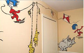 Dr seuss nursery decorating ideas for a shared nursery for Dr seuss wall mural decals