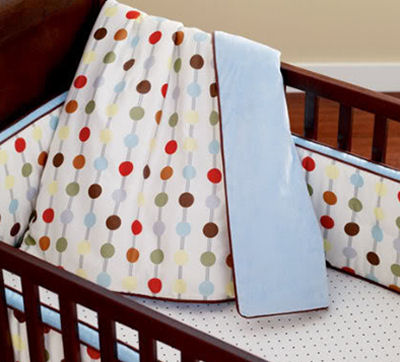 Black  White Bedding on Polka Dot Baby Crib Bedding Set For A Red White And Baby Blue Nursery