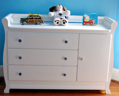 White Baby Dresser with Glass Pulls