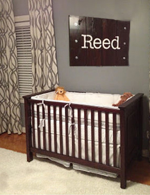 Modern gray and cream baby boy nursery room