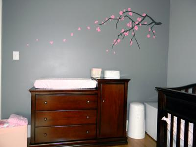 Baby Changing Table in the Nursery with Cherry Blossom Wall Decal