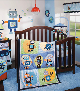 Outer space robots Jetsons cartoon themed baby nursery ideas crib set bedding