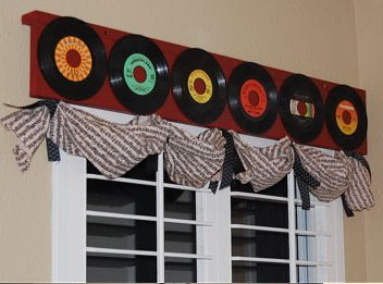 Rock and Roll Window Treatments -  Country and Western Musical Custom Nursery Window Valance